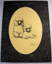 1984 Puppies Drawing Poodle Dog Show Black White 16 X 12 Matted Rare Signed - $54.95
