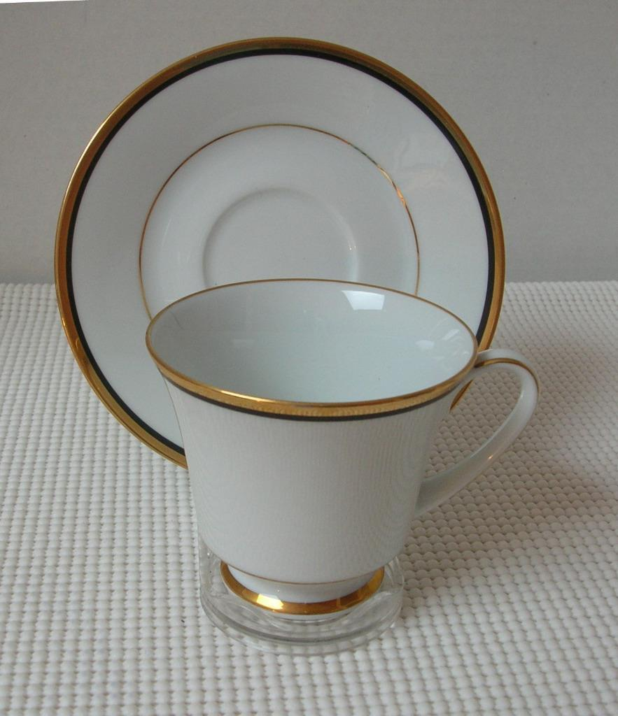 Primary image for Noritake ELYSEE TEA CUP & SAUCER Bone China Pattern 6914 Japan Gold & Black Trim