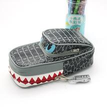 Pencil Case Pen Bag Grey Crocodile With Lock - $13.99