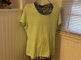 Liz Claiborne Lime Green Crinkle Soft Knit Top XL  Nice - $5.99