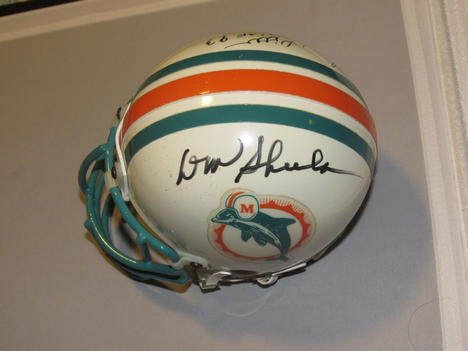 Primary image for DON SHULA LARRY LITTLE HOF MIAMI DOLPHINS SIGNED AUTO MINI RIDDELL HELMET JSA