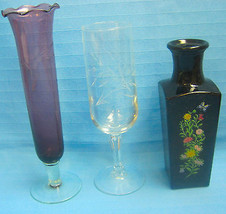 Vases Lot of 3 Small Bud Etched Purple & Clear Glass & 1 Avon Black Bottle - $24.87
