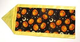 Halloween Pumpkins & Bats Yellow Trim Table Counter 44 x 9 Runner Scarf ... - $9.89