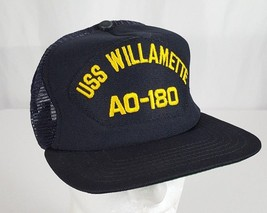 USS Willamette AO-180 Naval Vessel Snapback Hat Cap Navy Mesh Blue Gold Military - $20.39