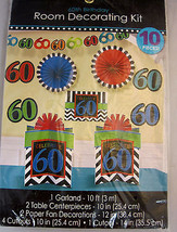 60th Birthday Room Decorating Kit 10 Pieces Amscan Hanging Decoration Mu... - $24.95