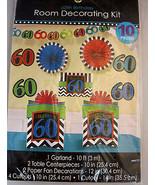 60th Birthday Room Decorating Kit 10 Pieces Amscan Hanging Decoration Mu... - $24.95