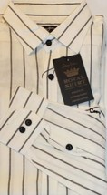 NWT Sean John Men Long Sleeve Shirt White Striped Embroidered Logo Back Big Lrg - $22.96