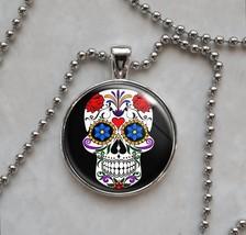 Sugar Skull Dia De Los Muertos Calavera Pendant Necklace - $14.85+