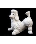 Poodle Dog Figurine Statue Playful Puppy White Vintage - $24.15