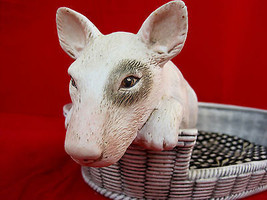 Bull Terrier Puppy Dog Figurine Large Ceramic Bed With Pillow - $125.00