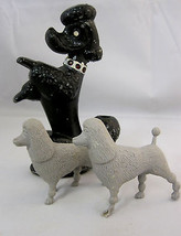 Poodle Dog Figurine Metal Pencil Holder & 2 Little Plastic Toys Mixed Ma... - $32.95