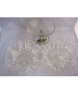 3 Serving Relish Butter Dishes Plates Cut Glass 1 is AVON Holiday Christmas - $39.95