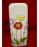 Vase Ceramic Large Springtime Easter Flowers Tulip Poppies Design Multi ... - $36.95