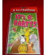 It's A Party Animals 8 Invitations & Envelopes New - $6.50