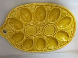 Egg Tray Containers Carriers Easter Deviled Harvest Gold Ceramic - $22.50