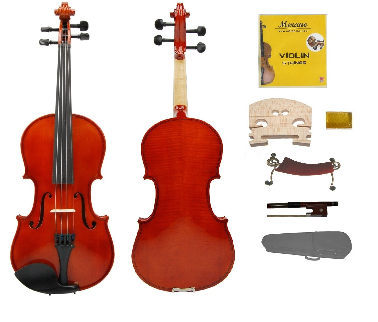3/4 Size EBONY Fitted Handmade NICE FLAMED Violin,Case & Bow for INTERMEDIATE