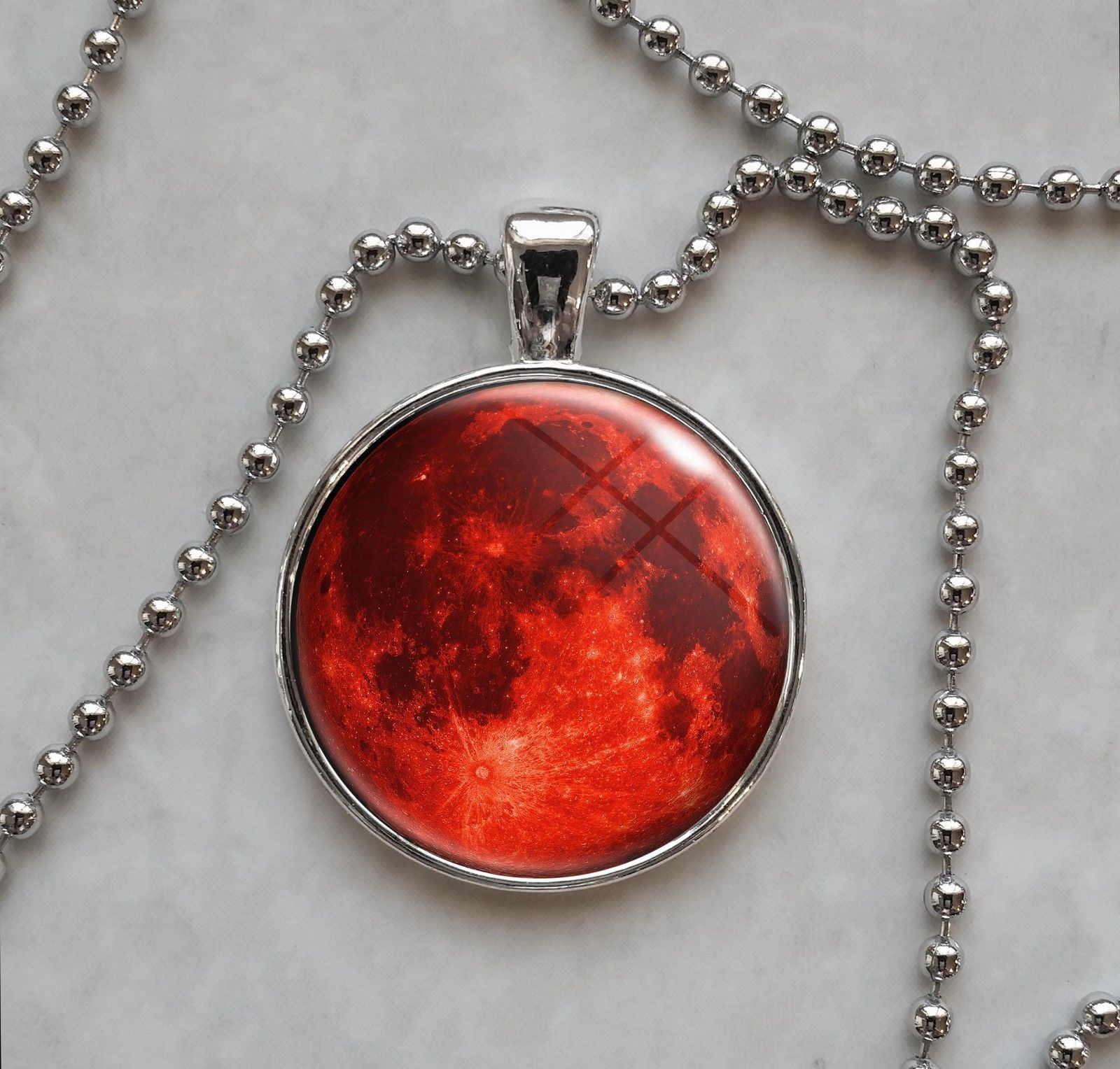 Blood Harvest Full Red Moon Pendant Necklace