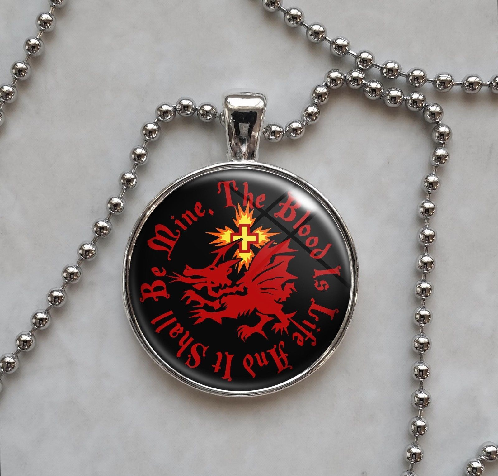 Choose Quote Dracula Order of Dragon Vampire Pendant Necklace