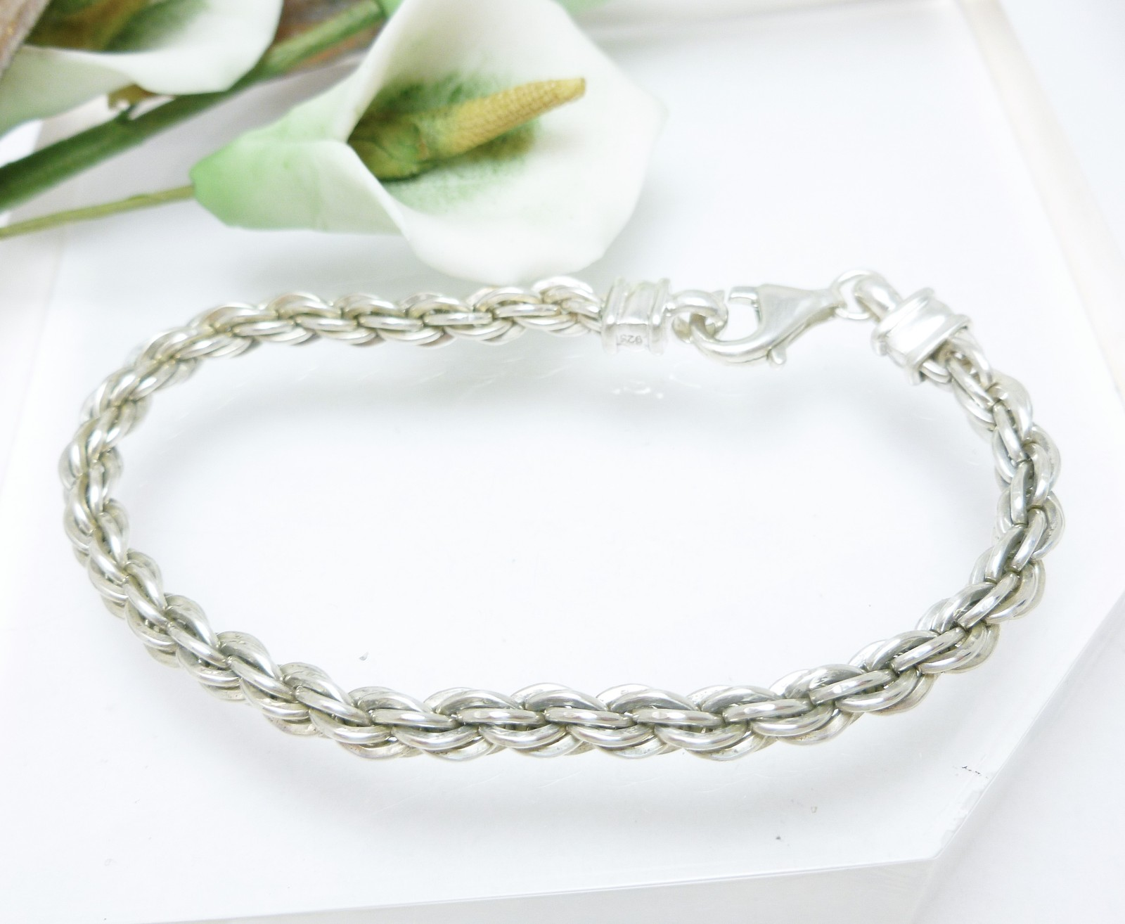 "Sterling 7"" Solid Rope Chain Bracelet, 13.5g"