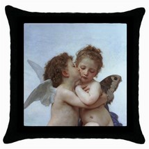 Throw Pillow Case Decorative Cushion Cover William Bouguereau First Kiss... - $16.99