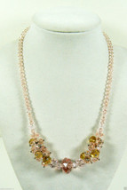 YOU AND i Crystal Cluster Arrangement Pink Clear collar Necklace Pretty ... - $25.25
