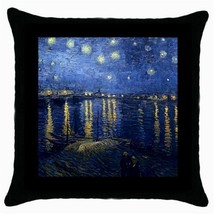 Throw Pillow Case Decorative Cushion Cover Van Gogh Starry Night Over Th... - $16.99