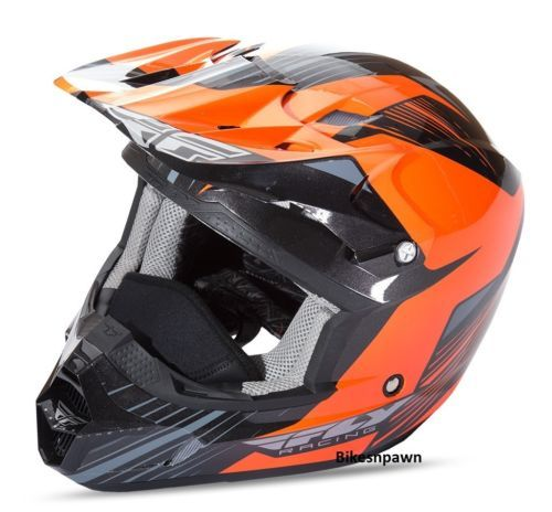 New L Adult Fly Racing Kinetic Pro Cold Weather Snow Helmet Orange/Black