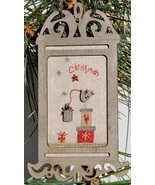 Primitive Christmas Birdcage w/frame buttons cross stitch The Bee Company  - $15.40