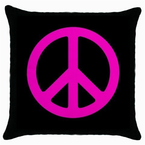 Throw Pillow Case Decorative Cushion Cover Pink Peace Sign Gift