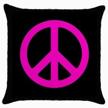 Throw Pillow Case Decorative Cushion Cover Pink Peace Sign Gift - $16.99