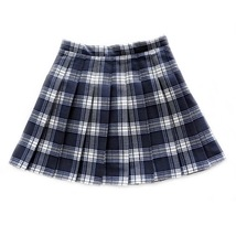Women Girl Pleated Plaid Skirt School Style Pleated Plaid Skirt- Red Green, Plus image 6