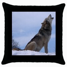 Throw Pillow Case Decorative Cushion Cover Howling Wolf Gift - $16.99