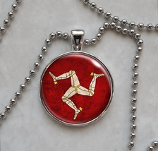 "Isle of Man Flag ""Mann"" British Crown Dependency Pendant Necklace - £10.64 GBP+"