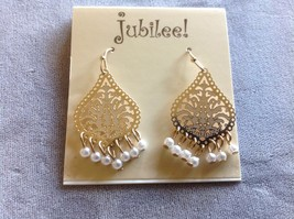 New Jubilee! Decorative Gold Toned Earrings Gemstones and Pearls image 3