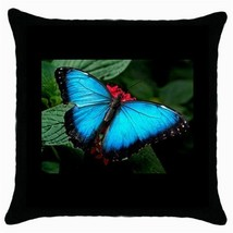 Throw Pillow Case Decorative Cushion Cover Beautiful Blue Butterfly Inse... - $318,45 MXN