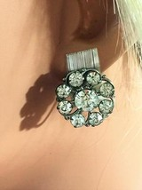 Vintage Bling 1950's Rhinestone & Silver Tone Screw Back Earrings - $14.50