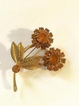 Vintage 1960's Orange or Topaz & Gold Tone Rhinestone Flower Brooch Pin - $14.50