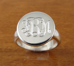 Monogram Ring, Initial Ring, Personalized Ring, Engraved Ring Bridesmaid... - $44.95