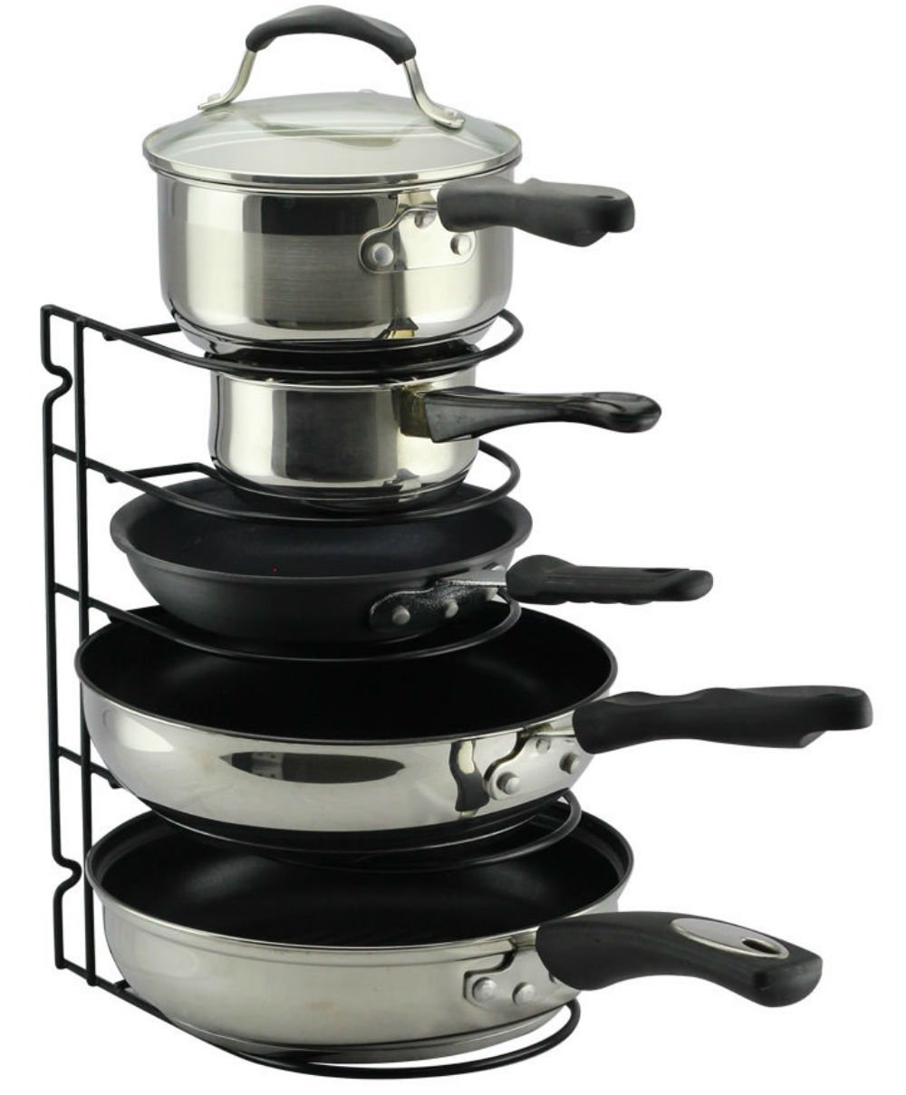 Pan Rack Organizer Holder For Kitchen Countertop Cabinet And Pantry Blackii Kitchen