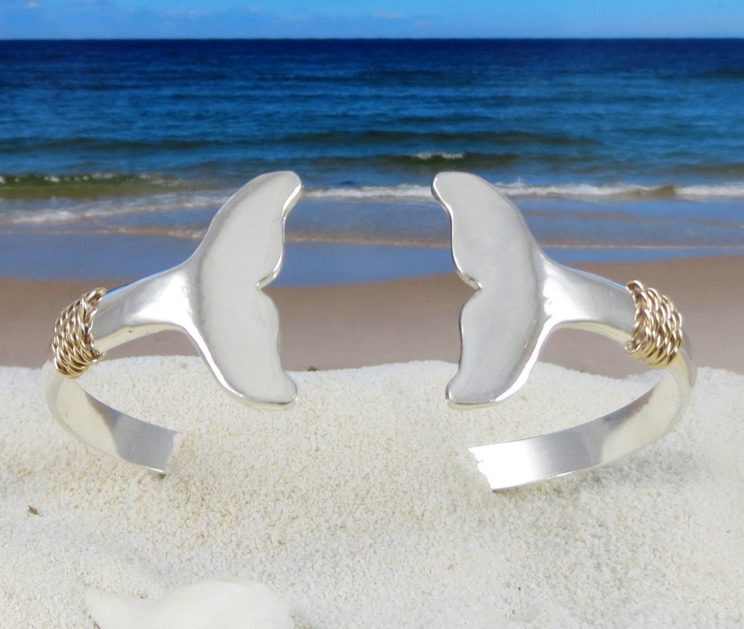 Nautical Whale Tail Bracelet Hand Crafted On Cape Cod Out