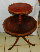 Mahogany Carved Inlaid 2 Tier Dumbwaiter Table / Parlor Table - $499.00