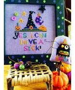 Drive A Stick halloween cross stitch chart Amy Bruecken Designs   - $7.20