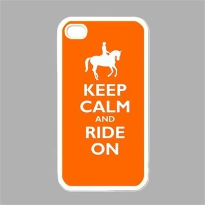NEW iPhone 4 Hard Black Case Cover Keep Calm And Ride On Orange Gift 34860481