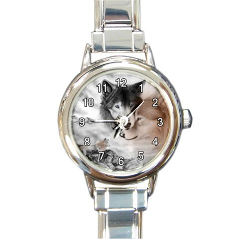 Ladies Round Italian Charm Bracelet Watch Wolf Couple Wolves Gift model 34789623