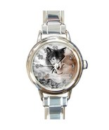 Ladies Round Italian Charm Bracelet Watch Wolf Couple Wolves Gift model ... - $10.99
