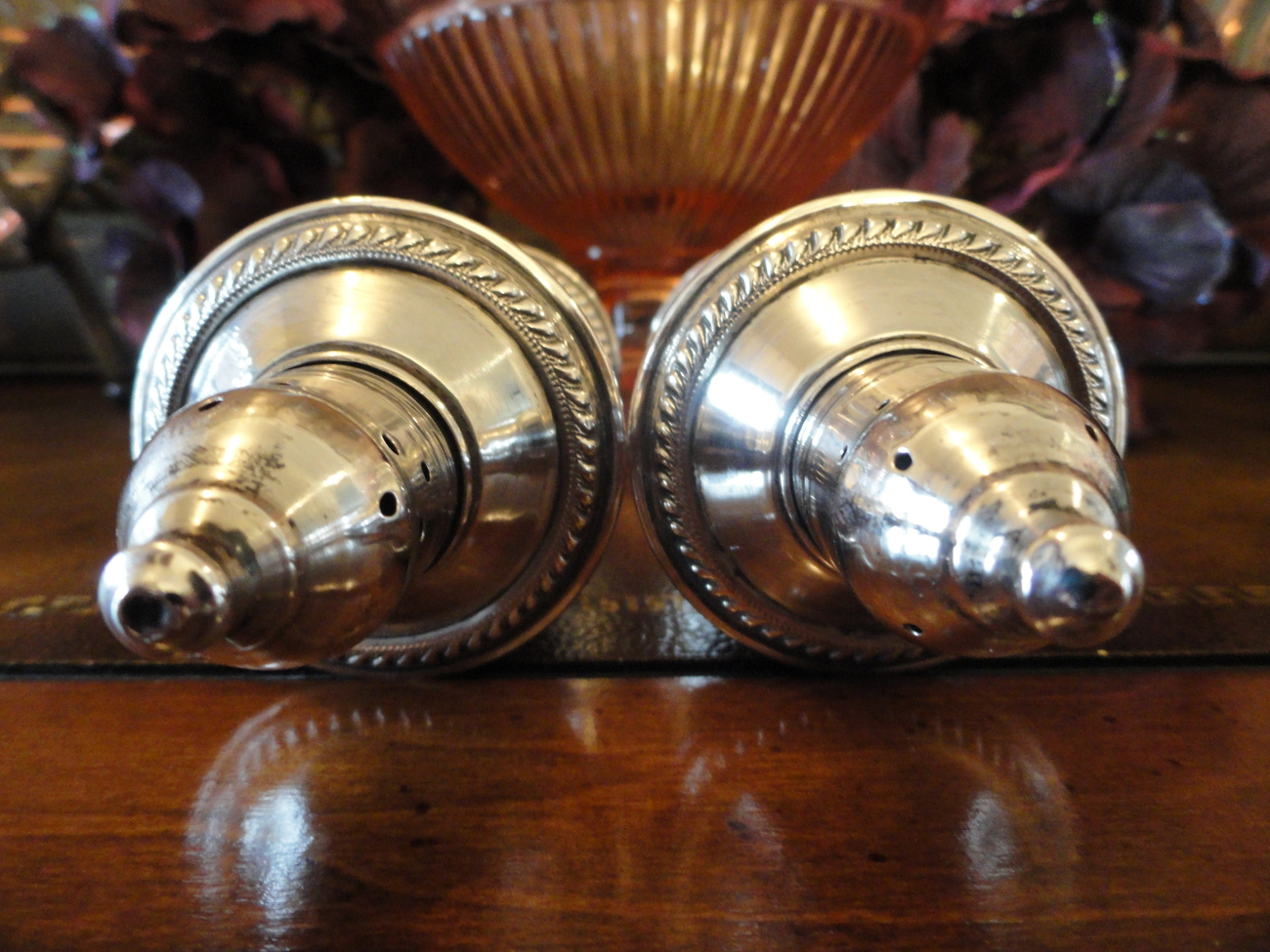 Crosby Sterling Silver Weighted Glass Lined Salt and Pepper Shakers