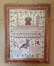 Mary Clay 1805, The Chinese Quail Sampler cross stitch chart Merry Wind Farm - $18.00