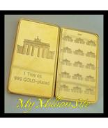 1Troy oz. BERLIN GERMANY GATE BRANDENBURGER TOR .999 FINE GOLD CLAD BULL... - $9.97