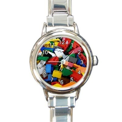 Ladies Round Italian Charm Bracelet Watch Lego Color Bricks Gift model 34789600