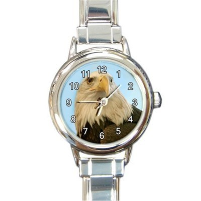 Ladies Round Italian Charm Bracelet Watch Bald Eagle Gift model 34789589
